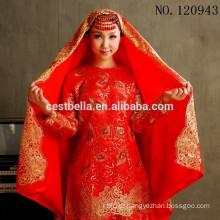 Tamanho maior manga árabe manga comprida Gelinlik turco muçulmano vermelho hijab vestido de noiva