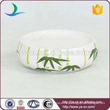 YSb40063-06-sd banheiro acessórios prato de sabão em cerâmica com design de bambu