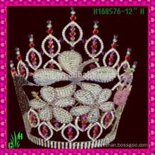 Wholesale New Designs Rhinestone Crown,Tiara New Product tall pageant crown
