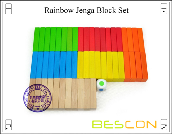 Rainbow Jenga Block Set-3