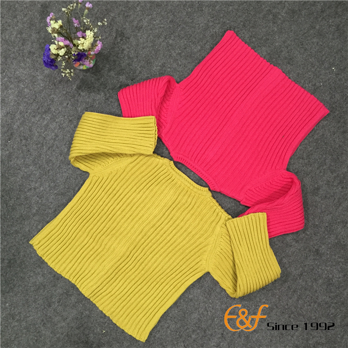 Convex ribs Knitted Sweater Two Color