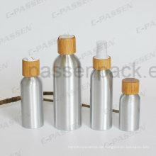 Kosmetische Aluminiumflasche mit Bambusschraube (PPC-ACB-064)