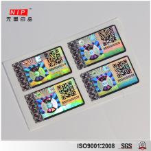 Etiqueta do holograma do favo de mel com QR Code de impressão UV