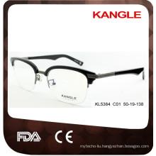 2017 Men Classic Designer acetate & metal optical glasses & eyeglasses combination eyewear
