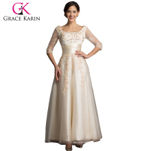 Grace Karin Newest Elegant Design Champagne Prom Dress With Long Sleeve CL6051-2#