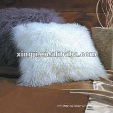 cojín de piel mongol natural color blanco almohada de piel de cordero tíbet