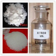 Ätznatron (NaOH), Flake Pearls 96% -99% Flüssigkeit 49% -52% Industriequalität