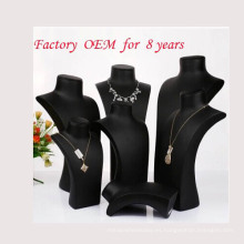 Soporte de exhibición de collar de resina cubierto de pulido de aceite negro (Serie NS-RS-NRN)