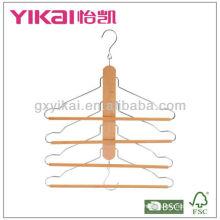 Gancho de camisa de madeira com 4 grades de barra redonda de calças