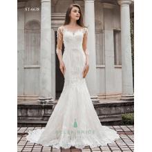 Shiny pakistanischen Brautkleider lange Ärmel modernen schönen Brautkleider Fisch schneiden Braut Kleid