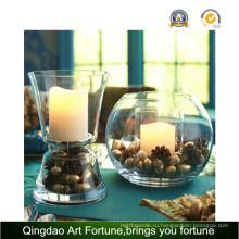 Свеча без запаха в стеклянной банке с чашей