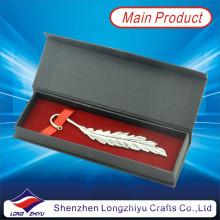Benutzerdefinierte Silber Lesezeichen Blattform Lesezeichen mit Quaste Geschenkbox