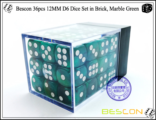 Bescon 36pcs 12MM D6 Dice Set in Brick, Marble Green-2