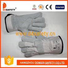 Cow Split Leather Full Palm White Cotton Back Half Lining Gloves