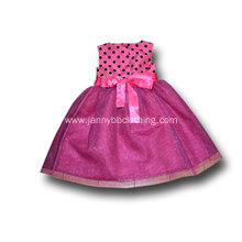 black polka dots pink tulle princess dress
