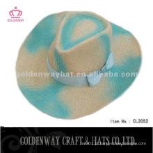 Womens Chapéu de cowboy de palha de cor para o verão