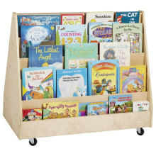 Estantería de exhibición de libros doble para niños con ruedas