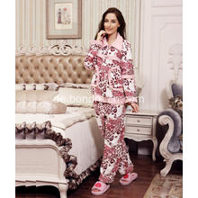 Luxus Damen Printed Fleece Pyjama Anzug