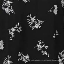 Черная вискозная ткань с цветочным принтом и цветочным принтом Afraic Black