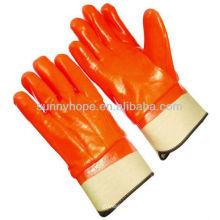 Orange fluoreszierende wasserdichte Schaumstoff gefütterte PVC-Handschuhe