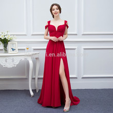 Sexy Red Side Split Chiffon Long Prom Dresses 2016 Hot Sale Cheap Evening Dresses Robe De Soiree Vestido De Festa Longo