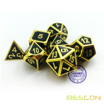 Bescon Super Shiny Deluxe Golden and Enamel Solid Metal Polyhedral Dice Set of 7 Gold Metallic RPG Role Playing Game Dice D4-D20