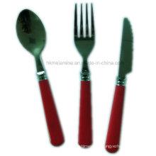 Ensemble de couverts en acier inoxydable avec poignée rouge (FW007)