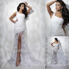 Ein Schulter-vorderes Schlitz-Spitze-Hochzeits-Kleid