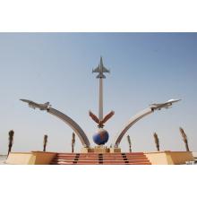 Edelstahl-Metall-Flugzeug-Skulptur für Outdoor-Denkmal