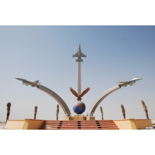 stainless steel metal airplane sculpture for outdoor monument