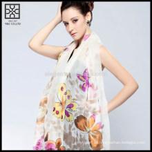 Seda blanca impresa bufanda de la señora