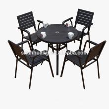 Black garden furniture plastic wood leisure table set outdoor patio furniture