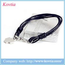 Multilayer black leather rope bracelet titanium steel cross pendant bracelet