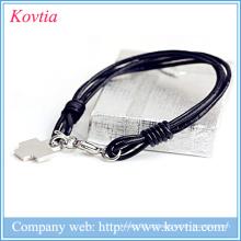 Multilayer couro preto pulseira de corda de aço titanium cruz pulseira pingente