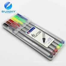 Por atacado personalizável Multi cor 6PCS forro plástico fino marcador permanente
