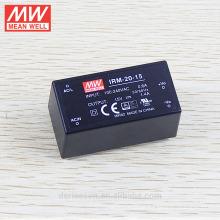 Miniatur gekapselte Typ MEANWELL 20W 15VDC offenen Rahmen Netzteil IRM-20-15