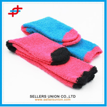 Bright color Half-velvet ladies thick knitted terry sock