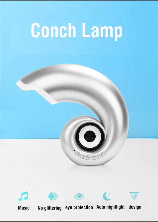 conch desk lamp with bluetooth speaker nigh light-1