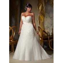2015 Tamaño más Organza Applique vestido de novia de la novia-cuello 2015 para las mujeres gordas (YASA-901)