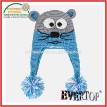 100% acrylic knitting pattern animal earflap hat, earflap hat crochet pattern beanie hat for kids