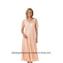 Women Chiffon V-Nevk Mother of The Bride Prom Dress