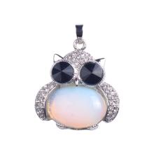 Encanto joyas 925 plata esterlina cabujón aleación buho colgante collar Opalite piedra péndulo