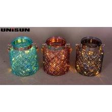 Decoración de muebles Artesanía de vidrio ligero con cadena de cobre LED de iluminación (9106)