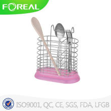 Round Shape Metal Utensil Holder with Plastic Base