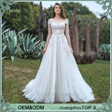 Heißer Verkauf graues Tullefrauen-Abendkleid Blumenappliques Abendkleid für Damen