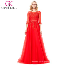 Grace Karin Floor-Length 3/4 Sleeve Long Tulle Netting Lace Red Evening Dress 8 Size US 2~16 GK000122-1