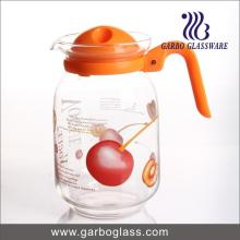 Punch à eau de verre à vente chaude 1.6L, cruche à jus avec fleur décalée personnalisée