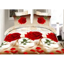 3D Romântico Red Rose Design baratos lençol conjuntos de folhas e lençol