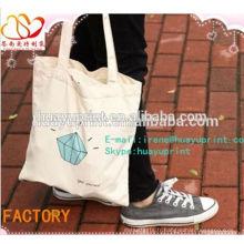 Sac imprimé en coton à manches longues, sac à bandoulière en coton de taille standard recyclable, sac à provisions en coton en gros