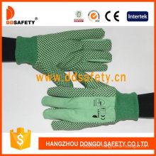 Green Canvas Cotton Dots Garden Safety Gloves